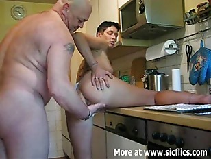 Fisting my wifes enormous pussy in the ki.