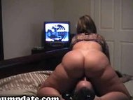 Babe with large behind sits on hubbys face