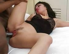 naughty brunette housewife rides hung black rod
