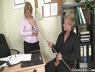 old office boss forces him fuck he.
