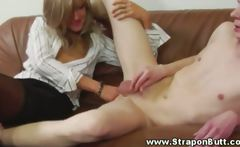 FEMDOM babe anal fingers lover on couch