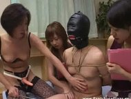 three mistresses humiliate and tease a poor bound slave