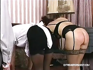 Landlord spanks submissive maid and w.