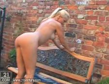 Hungarian Honey Vega Vixen Rubbing Her charming Pink Clitoris Outdoors