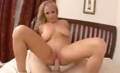 Busty babe Jessica Moore likes munching on his boner in a POV style then gets poked
