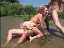Hawt Audrey Hollander acquires the one and the other of her holes ripped up by 2 stiff meatpoles