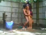 Desi Indian young Bangladeshi couple bathing outdoor and having sex sex tape exposed by sanshakarmini