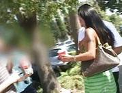 beautiful brunette pornstar with large natural boobies flashing in public