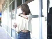 Melina brunette teenie flashing and posing in a public place