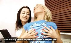 Irie and Audrey yellow-haired and brunette pretty lesbian couple kissing and undressing