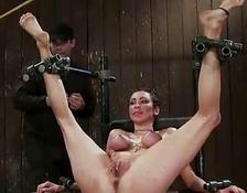 French lady bound and double penetrated
