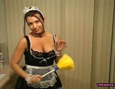 girl Plays A lovely French Maid whore Cleaning