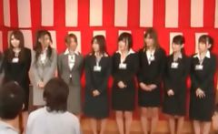 Super asian chicks in fancy suits attending a meeting