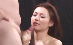 young oriental cutie Yui Matsuno has no problem stroking his meat to climax