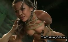 Tied up suspended babe vagina fucked and vibrated