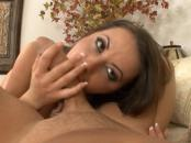 Hot brunette blowing, fucking and getting spunk on her face