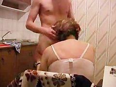 granny Gets pounded In Kitchen