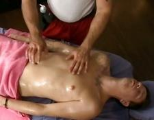 Muscle gay lover gives stud a massage and a handjob