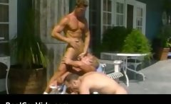 Hot gay threesome by the pool