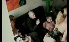 blonde female sex slave gets whipped in front of an audience