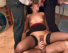 Babe with the glasses doing gang bang in the office