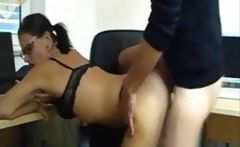 Brunette German secretary in glasses gets drilled doggy style and swallows for cum