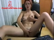 sweet redhaired with glasses masturbating  .