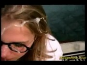 stud cums on nerdy girl's glasses