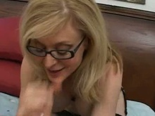 blonde mommy in glasses licking inflexible