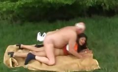 Chubby, young latina gets drilled by old dudes dong in the woods