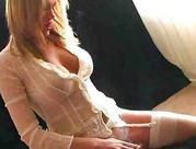 sexy yellow-haired in white stockings and lingerie rides softcore