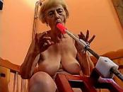 old lady swallowing A Dildo Fucking Machine
