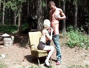 50yo old lady getting boned by teenie dude outdoor