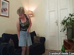 She warms up her snatch before two cock.