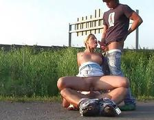 Public group sex with a hot lovely woman