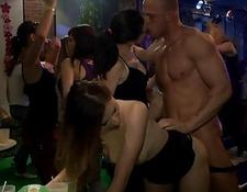Very hot group sex in club