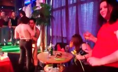Drunk party girls gangbanged by orgy strippers