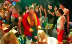 CFNM party girls touching strippers at an orgy