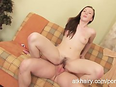 Angela gets her hairy pussy drilled hard