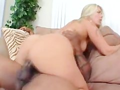 blondie MILF With Hairy pussy Gets Railed By black dick