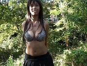 black babe Candy flashing madly in public