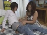 Milf blowing teen lover penis Giving Handjob On The Bed by japlez