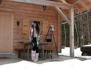 Lana gorgeous european brunette teenie masturbating in the winters cold