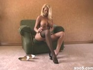 charming fine blondy in pantyhose