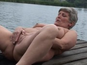 grandma masturbating and pissing outdoor
