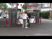 public sex threesome with a pregnant woman at a gas station