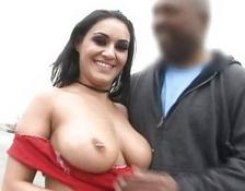 Amazing busty brunette bitch does bj and fucking in a public place