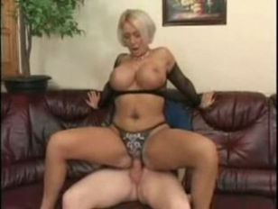 Mom With giant breasts in Fishnet