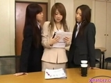 Office broad Getting Her Nipples blown pussy Licked And Fingered By two bitches In The Office by japlez