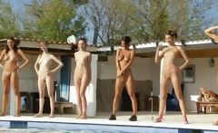 Six naked skanks by the pool from poland